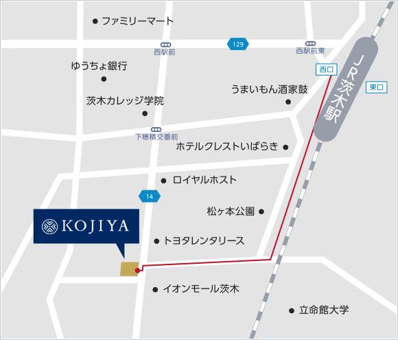 JR茨木駅から光柱屋までの地図