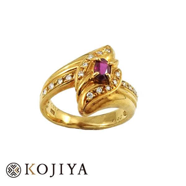 K18YG ルビー ダイヤ 指輪 リング (2021/3/28 K18・1gレート4,587円)+ルビー ダイヤの価格