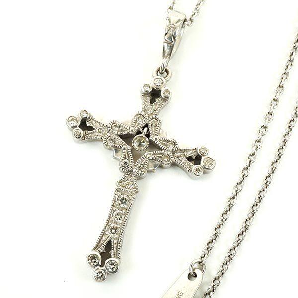 Loree Rodkin ローリーロドキン ホワイトゴールド クロス ネックレス 18金 十字架 ペンダント