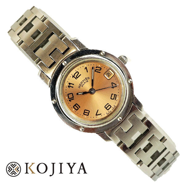HERMES エルメス クリッパー CL4.210 クオーツ レディース ブランド 腕時計 コマ数足りていない Bランク