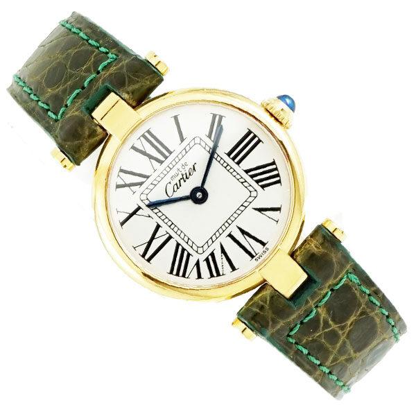 Cartier カルティエ VERMEIL ヴェルメイユ 925 シルバー ゴールドカラー レザーベルト スイス製 ベルメイユ ウォッチ 腕時計 時計 ABランク