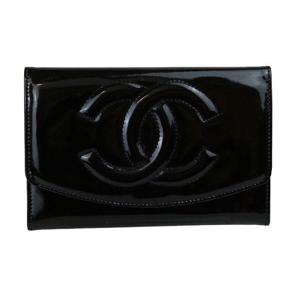 CHANEL シャネル エナメル コンパクト財布 黒 ブラック ロゴ エナメルはがれ有り Bランク