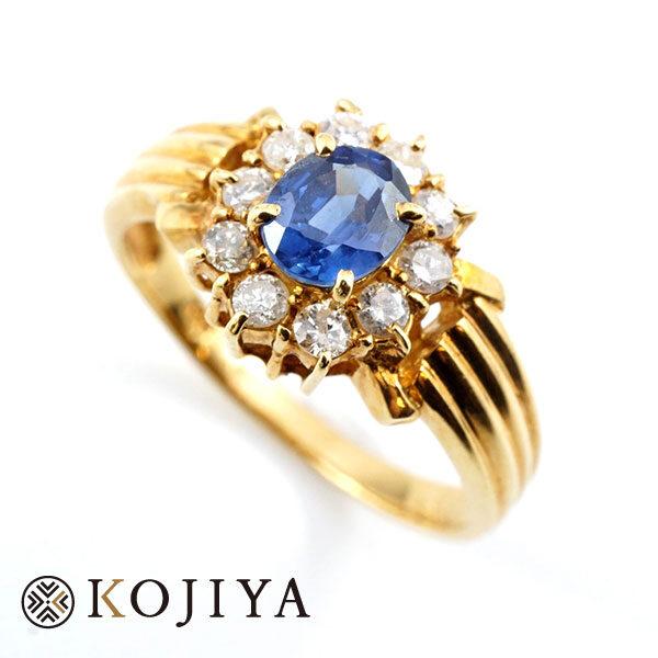 K18YG リング イエローゴールド 貴金属(2021/6/18 K18・1gレート4,757円)+サファイア、ダイヤの価格