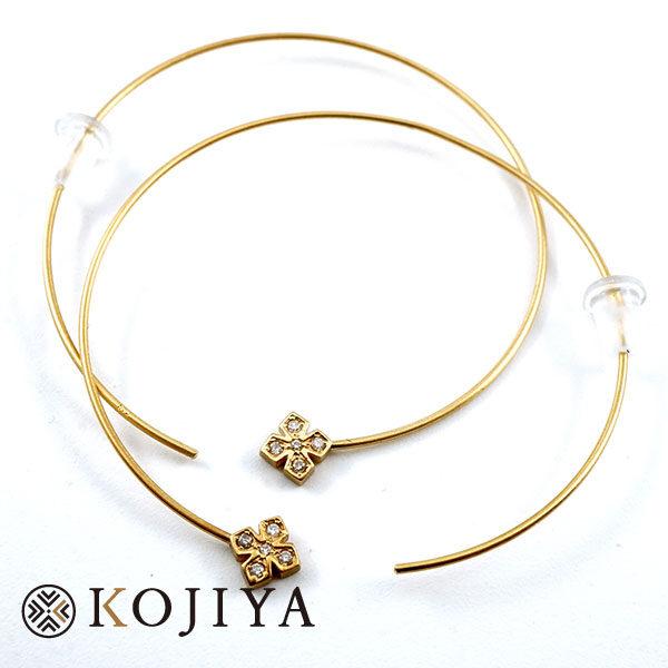 Loree Rodkin ローリーロドキン ピアス フープ クロス K18 ダイヤモンド 両耳 ABランク